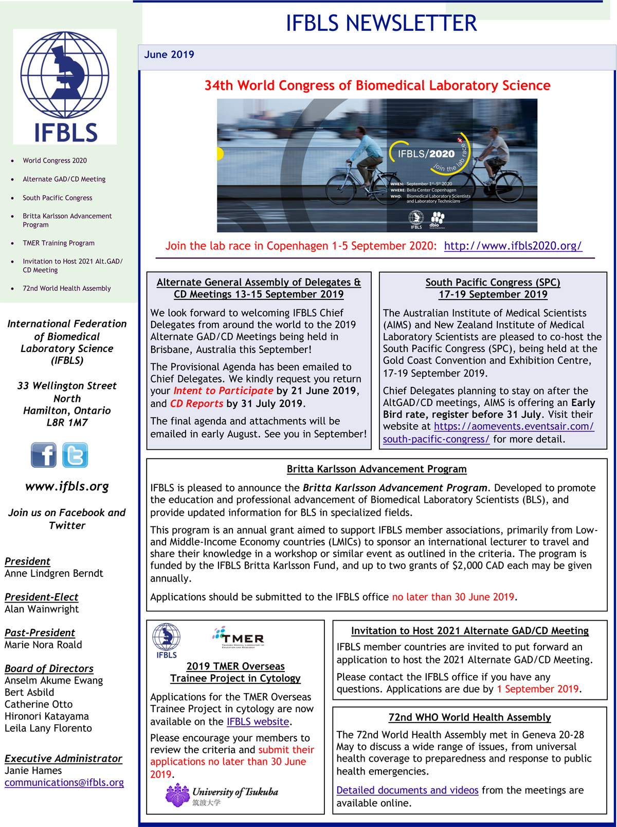 IFBLS Newsletter June 2019